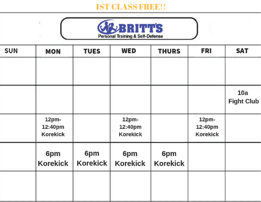 self defense workout class schedule